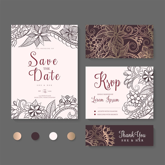 Wedding invitation, save the date. design template. Free Vector