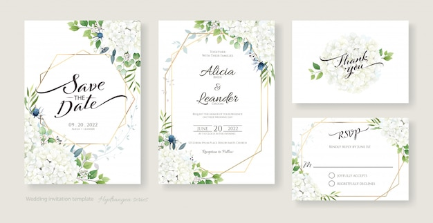 Wedding invitation, save the date, thank you, rsvp card design template. white hydrangea flowers with greenery. Premium Vector