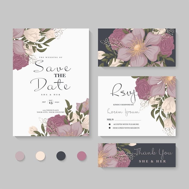 Wedding invitation, save the date. Free Vector