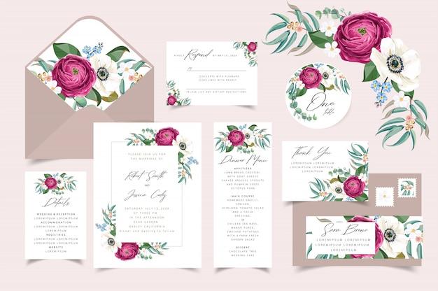 結婚式の招待状、花の花束のフレームデザインで日付カードを保存します。 Premiumベクター