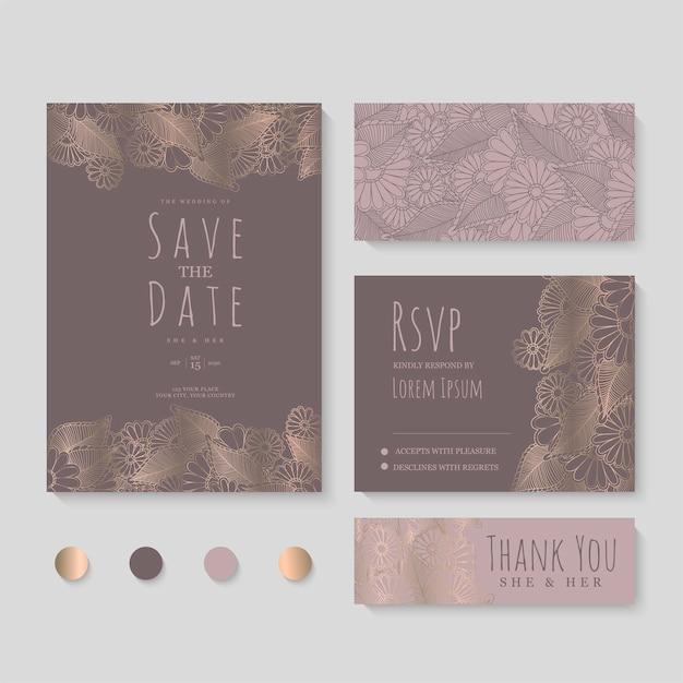 結婚式の招待状、日付を保存します。デザインテンプレート。 無料ベクター