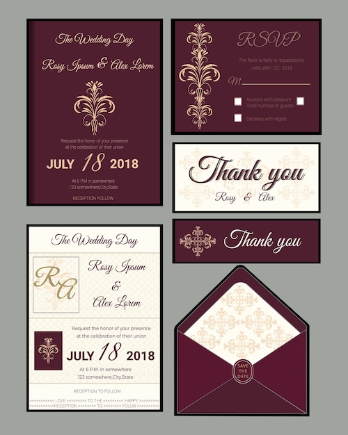 Wedding invitation , Save the date, RSVP card, Thank you card,Gift ...