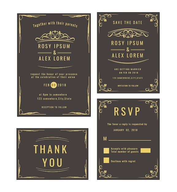 Wedding invitation save the date rsvp card thank you card wedding invitation save the date rsvp card thank you card table number stopboris Image collections