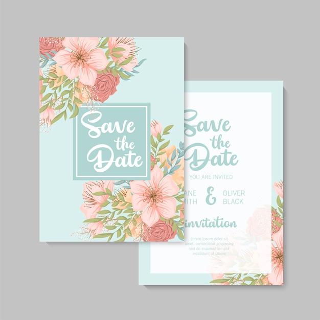 結婚式の招待状、日付を保存、ありがとう、rsvpカードデザインテンプレート。 無料ベクター