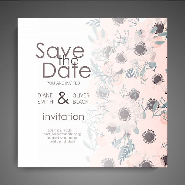 Свадебные приглашения установлены. красивые цветы. поздравительная открытка шаблон Бесплатные векторы