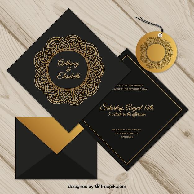Wedding invitation set in mandala style Free Vector