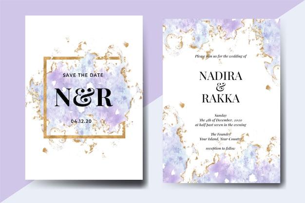 抽象的な水彩スプラッシュブルーゴールド冬の結婚式の招待状セット Premiumベクター