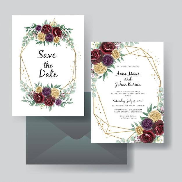 バラ赤紫と黄色の美しさの結婚式招待状セット Premiumベクター