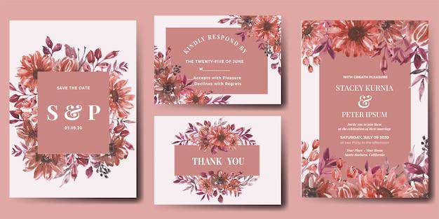 水彩花秋の結婚式の招待状セット Premiumベクター