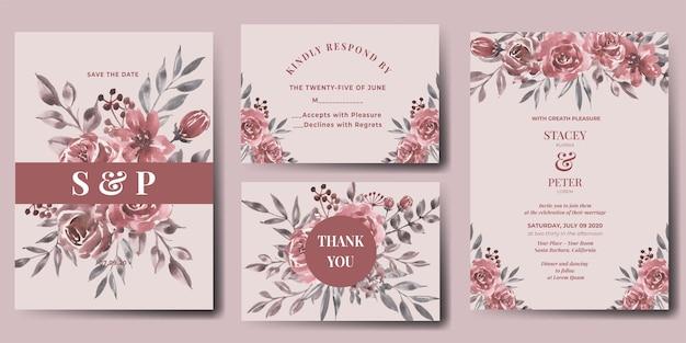 水彩フラワーマルーンの結婚式の招待状セット 無料ベクター