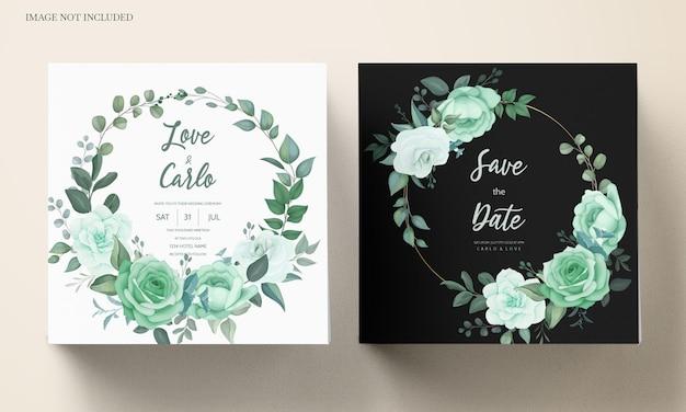 Шаблон свадебного приглашения с цветочной зеленью Бесплатные векторы