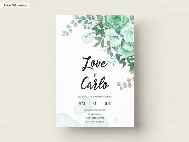 Шаблон свадебного приглашения с цветочной зеленью Premium векторы