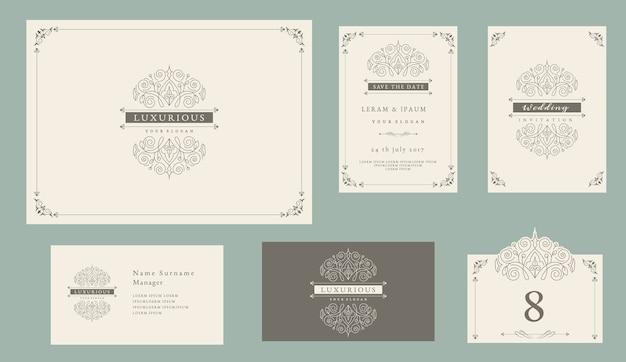 Wedding invitation set vintage style Premium Vector