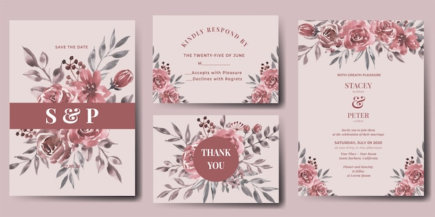 Wedding invitation set of watercolor flower maroon Free Vector