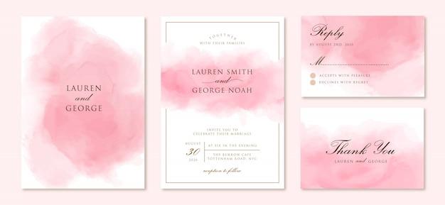 Свадебное приглашение с абстрактным розовым фоном Premium векторы