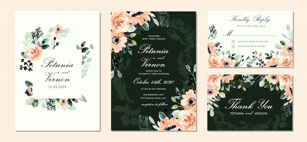 Wedding invitation set with beautiful blush green floral watercolor Premium Vector
