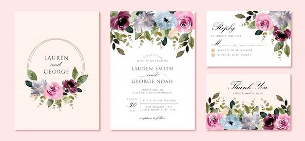 美しいフラワーガーデンの水彩画フレーム入り結婚式招待状 Premiumベクター