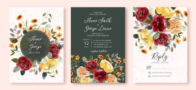 Wedding invitation set with beautiful flower garden watercolor