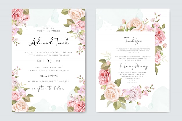 Wedding invitation set with beautiful flowers and leaves Premium Vector
