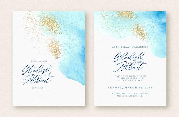結婚式招待状セットブルースプラッシュとゴールドの輝きの背景 Premiumベクター