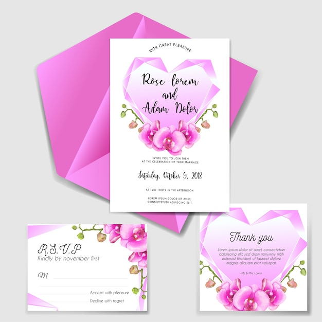 Wedding invitation set with diamond pink and orchid Premium Vector