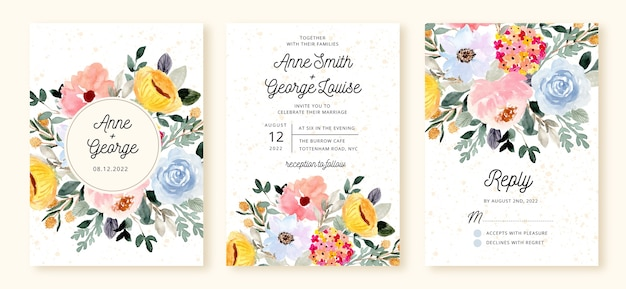 Wedding invitation set with floral blossom watercolor