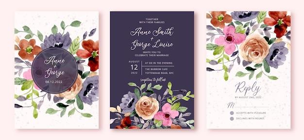 Wedding invitation set with flower garden watercolor