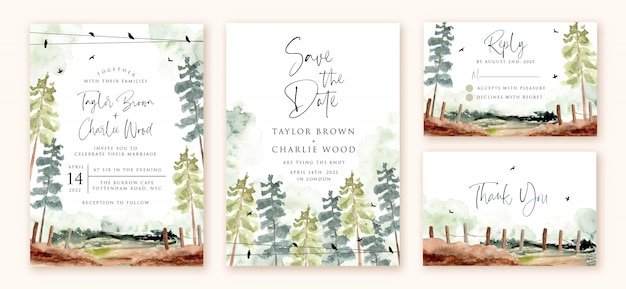 Wedding invitation set with green forest landscape watercolor Premium Vector