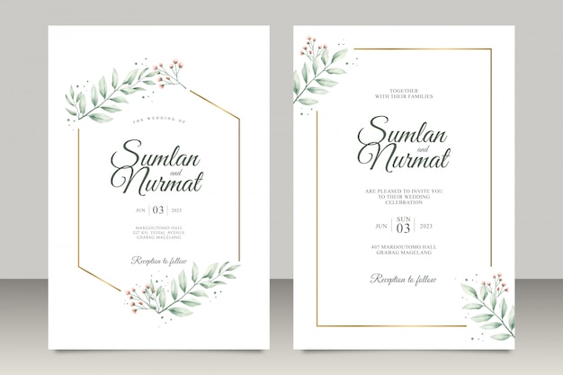 Wedding invitation set with modern leaves watercolor Premium Vector