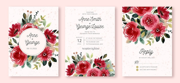 Wedding invitation set with red flower garden watercolor