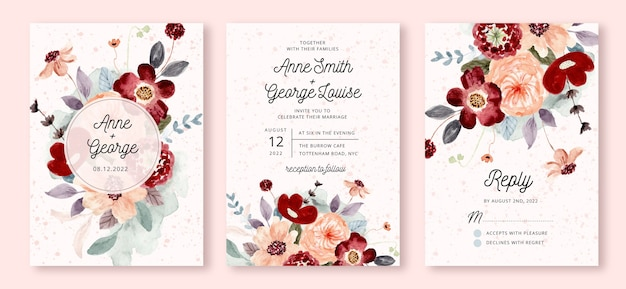 Wedding invitation set with red peach flower watercolor Premium Vector