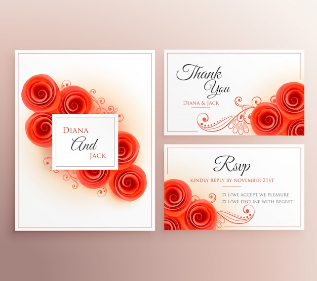 Wedding invitation set with roses Free Vector