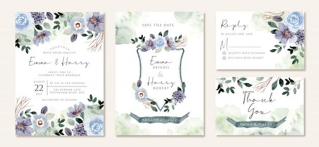 素朴なブルーグリーンの花の水彩画入り結婚式招待状 Premiumベクター