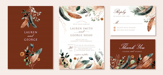 Wedding invitation set with rustic feather and foliage watercolor Premium Vector