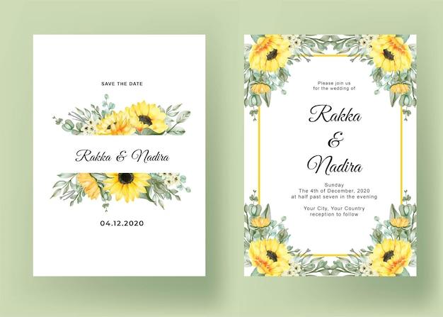 Wedding invitation set with sunflowers Free Vector