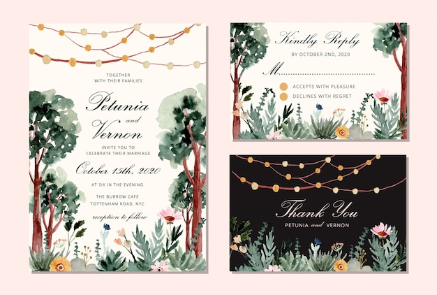 Wedding invitation set with tree and string light watercolor background Premium Vector