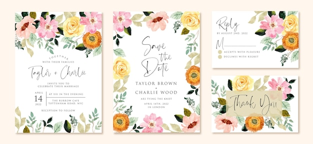 Wedding invitation set with yellow pink flower watercolor Premium Vector