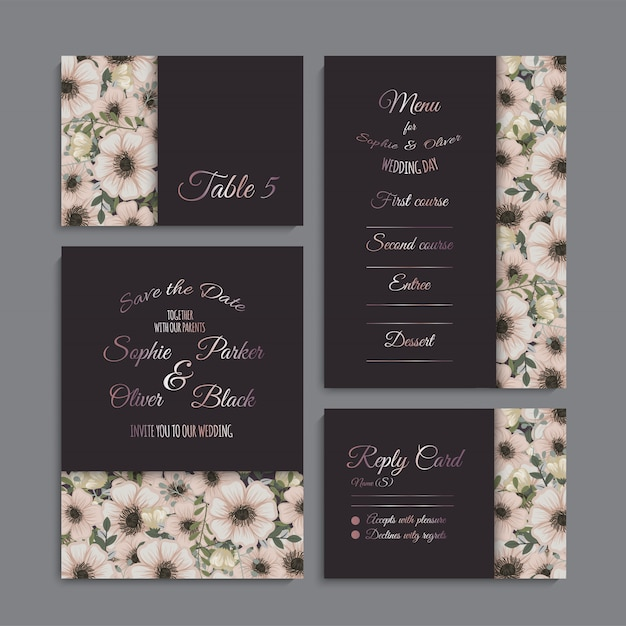 Wedding invitation set Free Vector