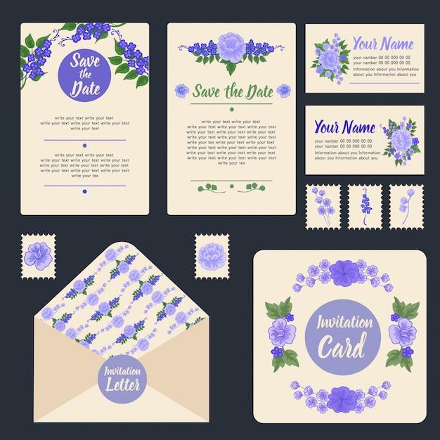 Wedding invitation stationary set Premium Vector