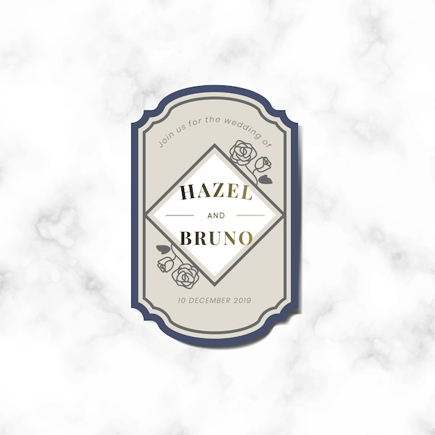 Wedding invitation sticker label vector Free Vector