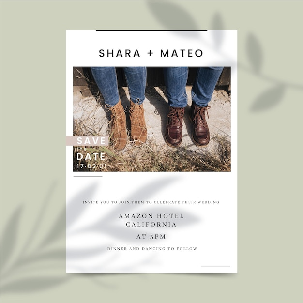 Wedding invitation style with photo Free Vector