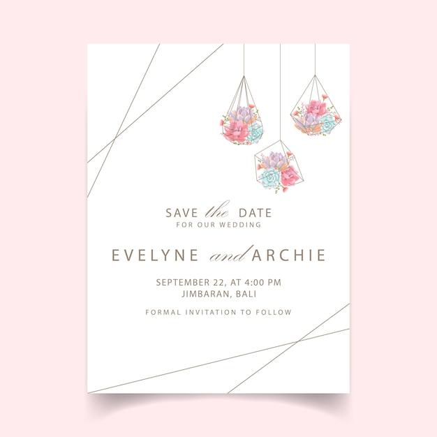 Wedding invitation succulents geometric terrarium Premium Vector