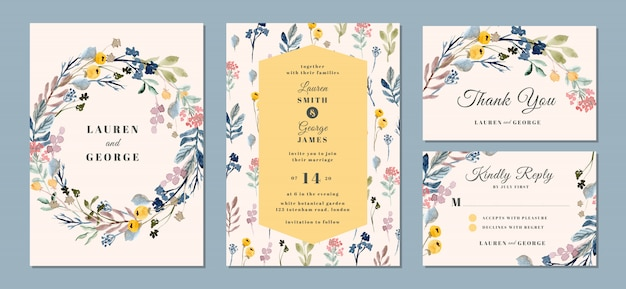 Wedding invitation suite with beautiful floral background watercolor Premium Vector