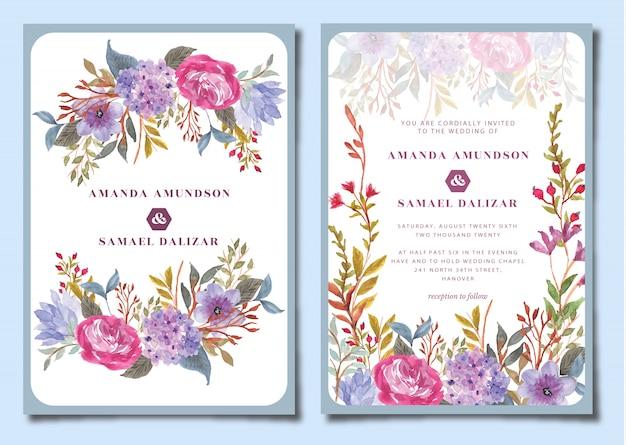 アジサイの花の水彩画と結婚式の招待状スイート Premiumベクター