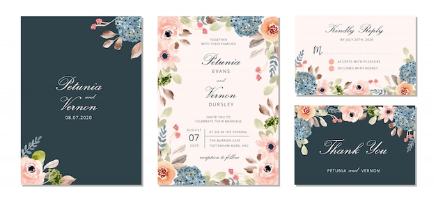 Wedding invitation suite with pretty flower watercolor Premium Vector