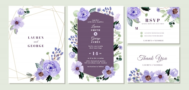 Wedding invitation suite with violet floral watercolor Premium Vector