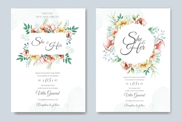 Wedding invitation suite with watercolor floral and leaves Premium Vector