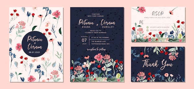 Wedding invitation suite with wild floral garden watercolor Premium Vector