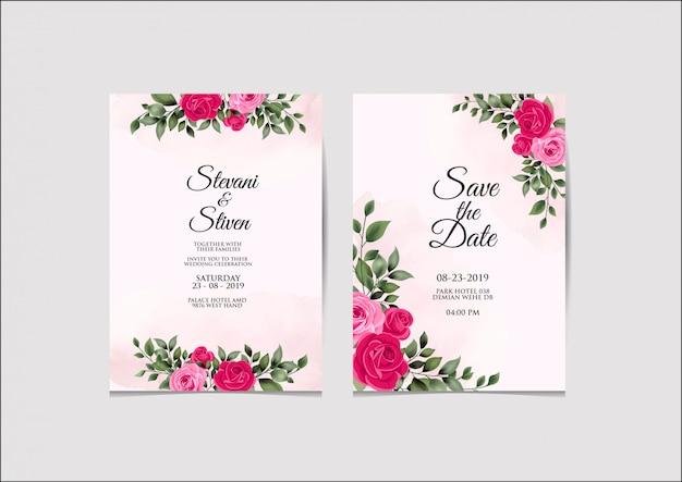 Wedding invitation template beauty and elegant Premium Vector