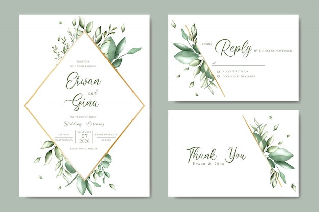 Wedding invitation template card design with watercolor floral and leaves Premium Vector